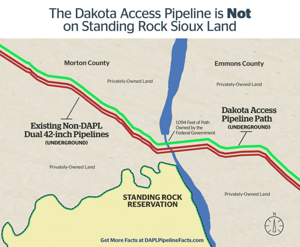 Map showing Dakota Access Pipeline going through private land